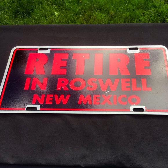 Vintage 1970's Roswell Metal Car Plaque 6x12in